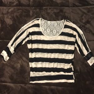 American Rag black and white striped top with lace